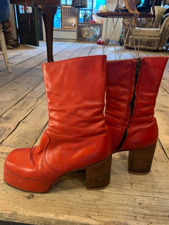 Rare Glam Rock cherry red platform boots