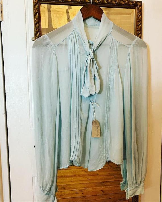 1940s Silk Chiffon Baby Blue Blouse