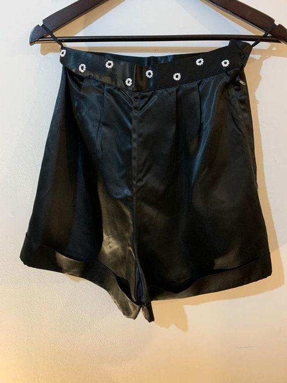 1960s Black Satin Shorts
