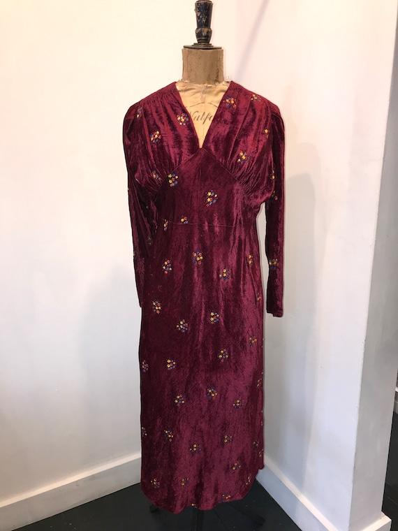 Hand Painted 1930s Velvet Dress