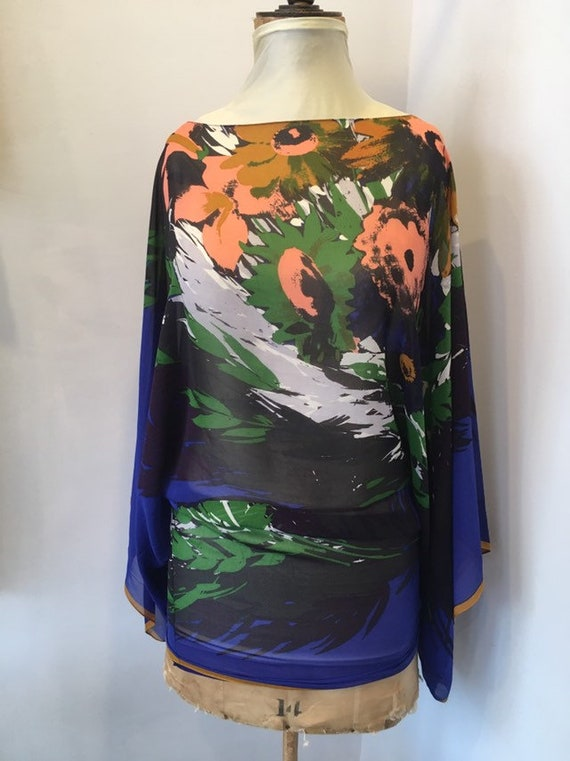 Modern Ossie Clark Silk Chiffon Mini Dress / Top.