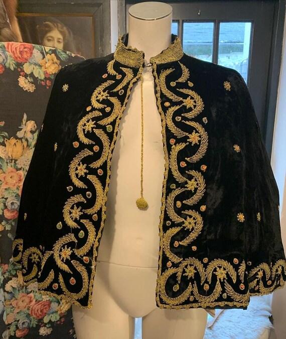 Vintage Silk Velvet Embellished Cape