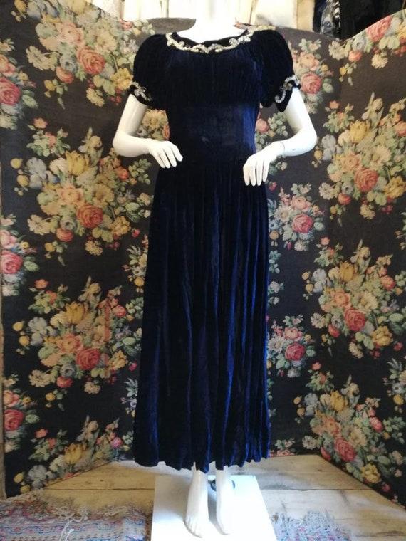 1950s Midnight Blue Velvet & Sequin Evening Gown
