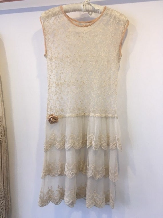 1920s Cotton Lace Embroidered Flapper Shift Dress.