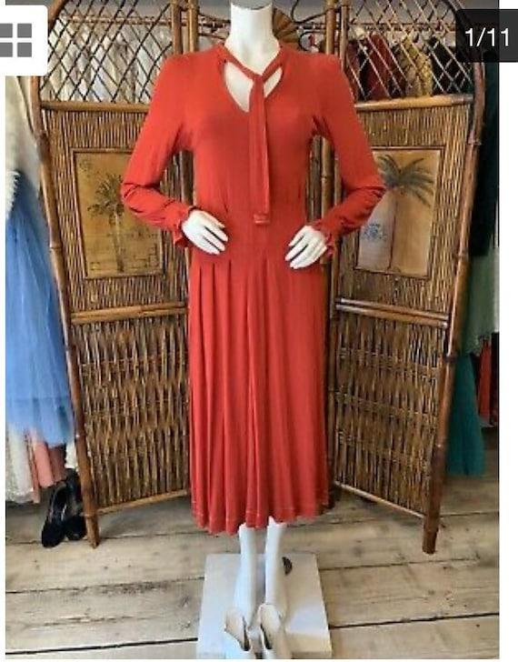 Vintage 1970s Jean Muir Red Jersey MIDI Dress