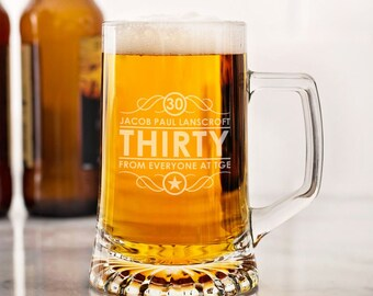 Personalised 30th Birthday Glass Tankard | Engraved Glass | Personalised with Any Message | Gifts for Men