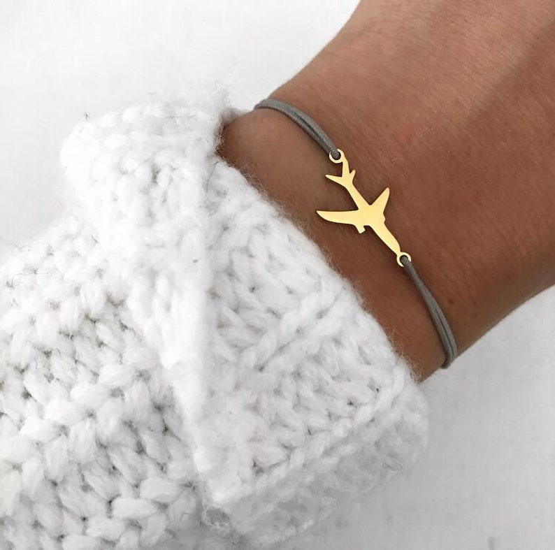 Bracelet Aircraft gold silver silver ros\u00e9 gold stainless steel elastic ribbon grey