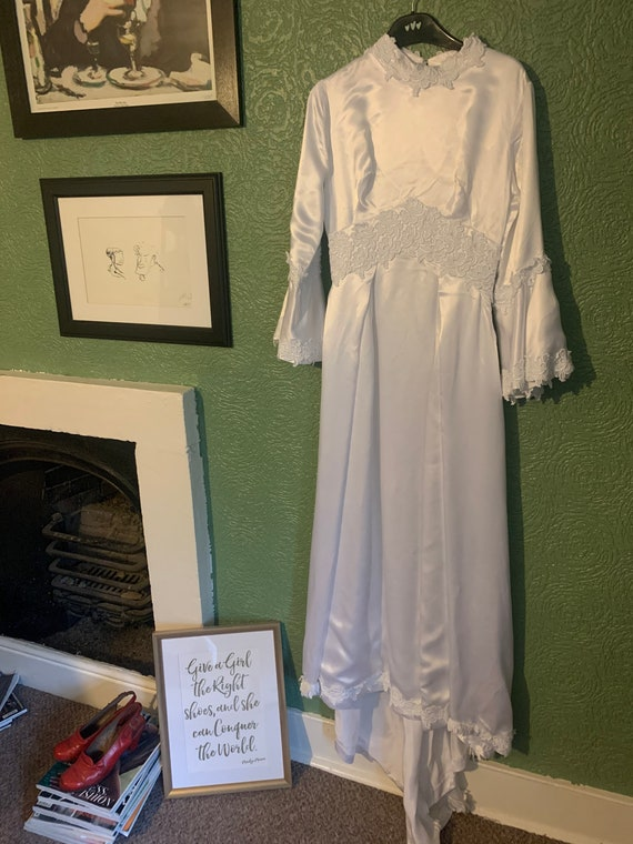1970s white wedding dress