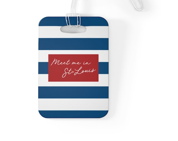 Meet Me in St Louis Bag Tag - Blue Stripe Luggage Tag - Pink Heart - St Louis Blues - St Louis Traveler - Cardinals Red - Graduation Present