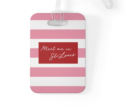 Meet Me in St Louis Bag Tag - Pink Stripe Luggage Tag - Pink Heart - Cardinals Red - St Louis Traveler - St Louis Love - Gateway Arch