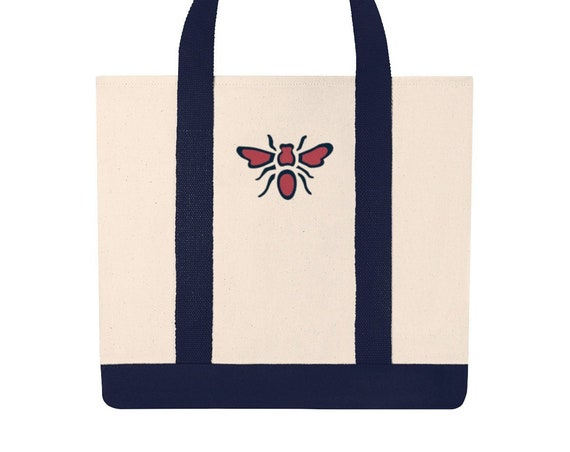 Embroidered Bee Canvas Tote