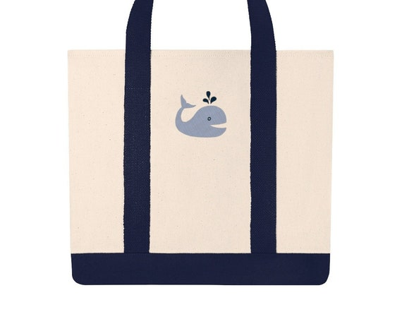 Embroidered Whale Canvas Tote