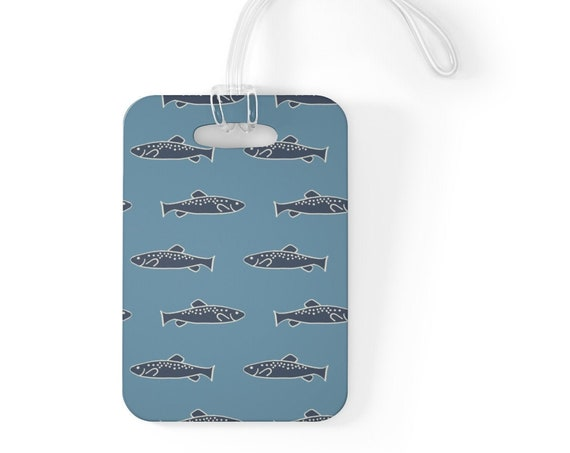 Trout Bag Tag - Blue Fish Luggage Tag - Trout Lovers Accessory - Unique Blue Bag Tag - Nautical Travel Accessory