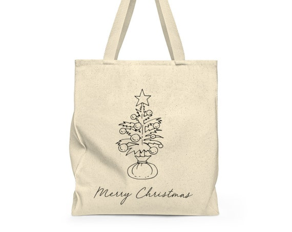 Merry Christmas Tote Bag - Christmas Tree - holiday tote - grocery bag - cute saying - canvas carry all - festive grocery bag