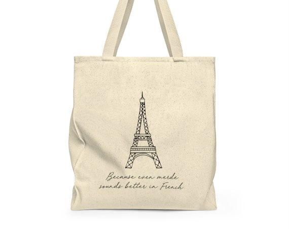 Merde! - funny french tote - eiffel tower - paris - grocery bag - cute saying - canvas tote bag - canvas carry all