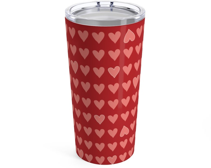 Valentines Day Travel Mug - Red Hearts - Pink Hearts - Coffee - Tea - Insulated Mug with Lid - Stainless Travel Tumbler - Cute Heart Mug
