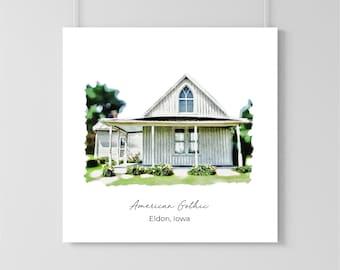 American Gothic  House Print