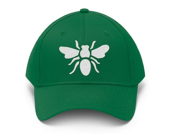 Green Busy Bee Baseball Hat - Embroidered Bee Cap - Fun and Sporty Kelly Green Bee Baseball Cap - Show your Irish Pride - Luck of the Irish