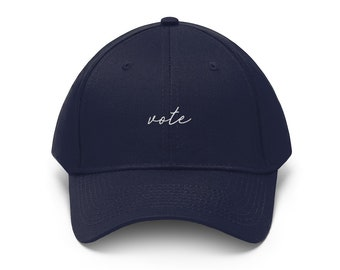 Vote Vote Vote Hat - Navy Blue Baseball Hat - Get out the Vote - Election Hat - Patriotic Hat - Embroidered