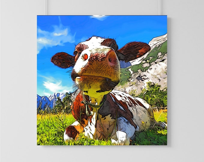 Cute and Colorful Cow Illustration Art Print