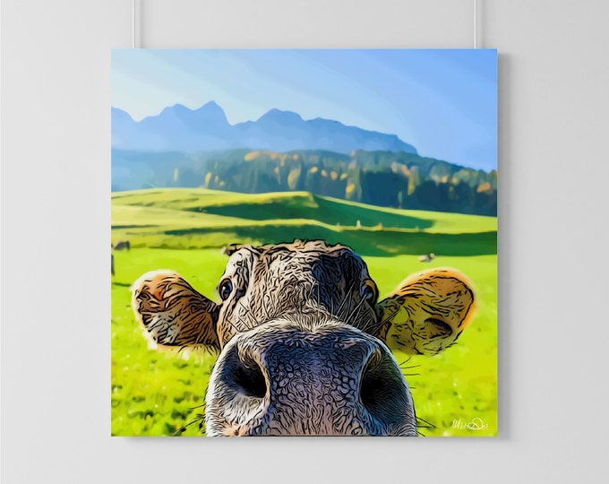 Cute and Up-Close Cow Art Print