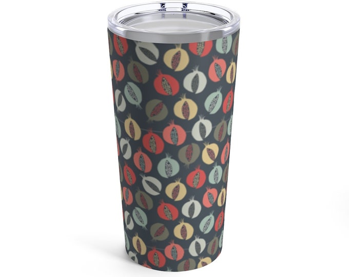 The Perfect Tumbler - Colorful Travel Mug - Pomegranate Print - Chic - Fun and Unique Gift - Hot and Cold Drinks - Great Gift for Foodies