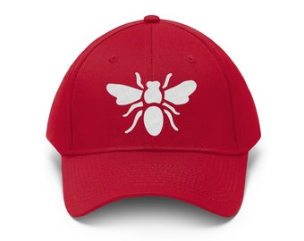 Busy Bee Baseball Hat - Embroidered Bee Cap - Fun and Sporty Red Bee Baseball Cap - Bee Lovers Gift - Perfect for Bad Hair Days - STL Hat