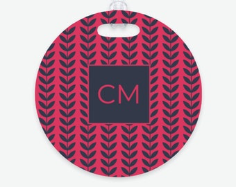 Colorful Monogram Luggage Tag - Bright Color Bag Tag - Two Sided Design - Custom - Perfect Gift for Travelers -Honeymoon - Backpack - Unique