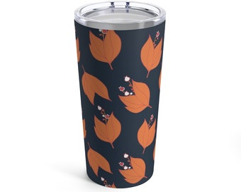 Lilly Tumbler - Orange and Navy Travel Mug - Flower Print - Pumpkin Orange and Dark Blue - Fun and Unique Gift - Hot and Cold Drinks - Fall