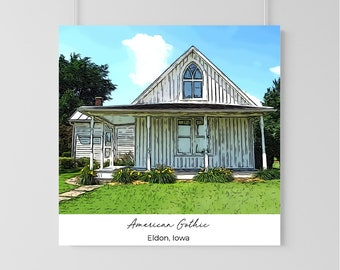 American Gothic  House Print