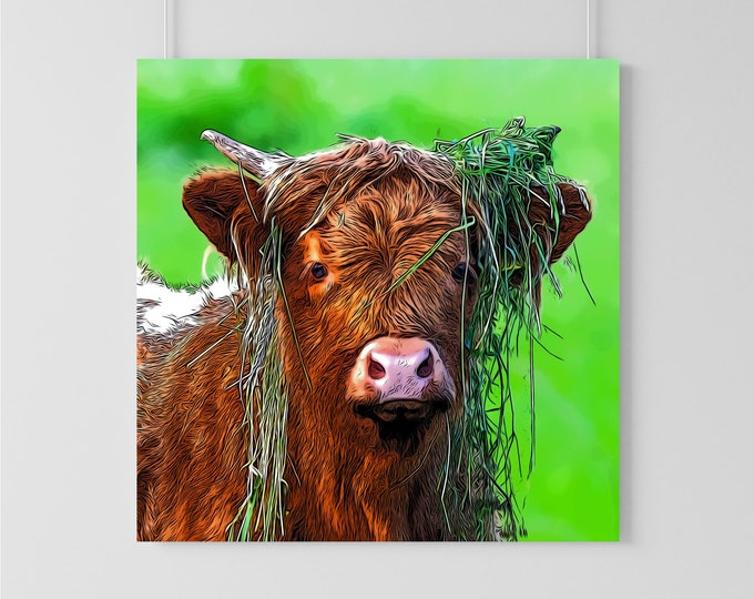 Messy Highland Cow Art Print
