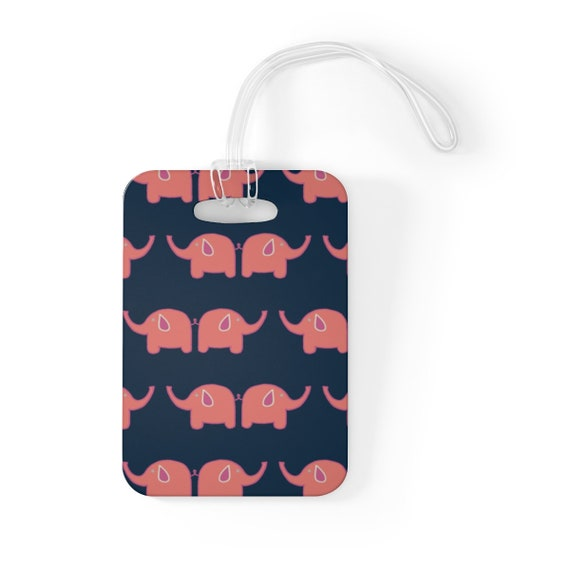 Ellie Bag Tag - Navy Blue and Pink Elephant Luggage Tag - Animal Lovers Accessory - Unique Bag Tag - Elephant Travel Accessory