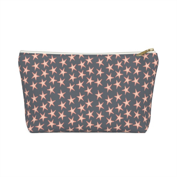 Starlight Pouch - Pink Star Make Up Bag - Star Pencil Case - Gray Zip Pouch - Pink and White Stars - Grey Pouch - Zip Top - Star Pattern