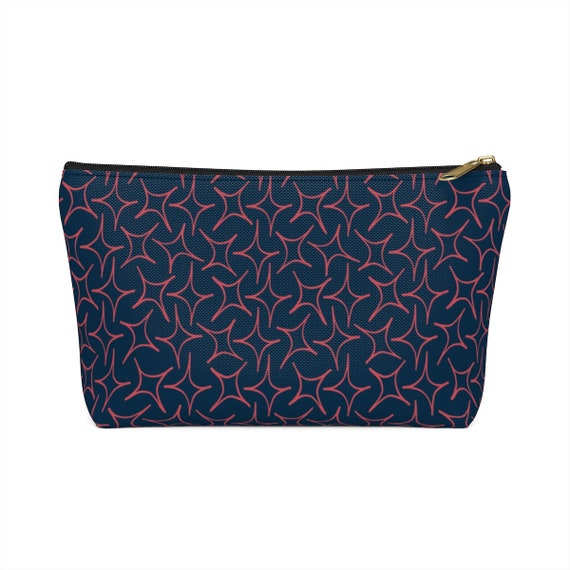 Eastern Stars Pouch - Make up bag - Pencil Case - Perfect size - Pink Stars - Navy Case - Celestial Bag