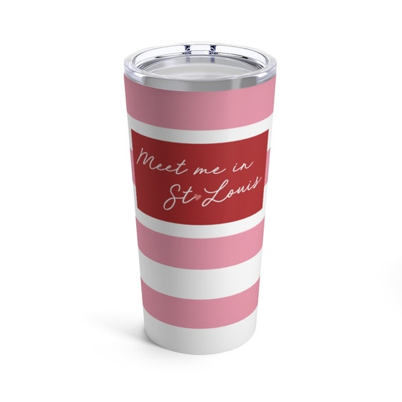 Meet Me in St Louis Tumbler - Pink Stripes - St Louis Travel Mug - Pink and Red - Pink Heart - St Louis Gift - St Louis Pride - Lou Love