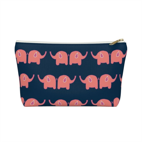 Pink Elephant Pouch - Make up bag - Elephant lovers - Pink and navy pencil case - made to order
