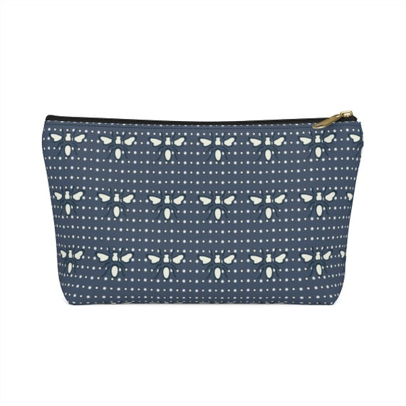 Navy Busy Bee Pouch - Make up bag - Bee lovers - White and navy pencil case - perfect holiday gift