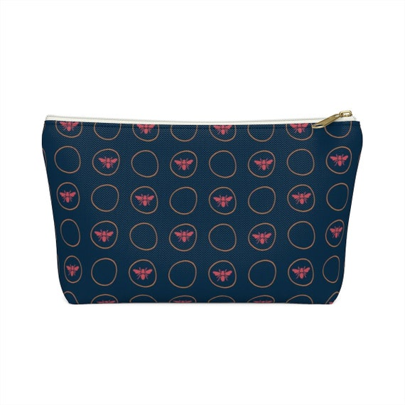 For the Love of Bees Pouch- - Makeup Bag - Pink Bee Fabric - Orange - Navy - Small Zipper Bag - Unique Bridesmaid Gift - Best Friend Gift