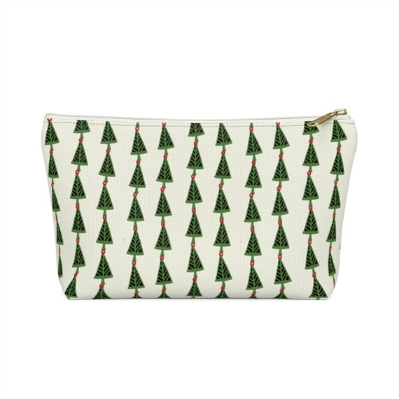 Christmas Tree Pouch - Make up bag - Green and cream pencil case - made to order - festive holiday bag - Pine trees - Retro Holiday