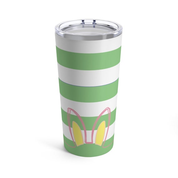 Easter Bunny Ears Tumbler - Pastel Green Stripes - Pink - Blue - Yellow - Spring - Tumbler with Lid - Spring Coffee Cup - Travel Mug