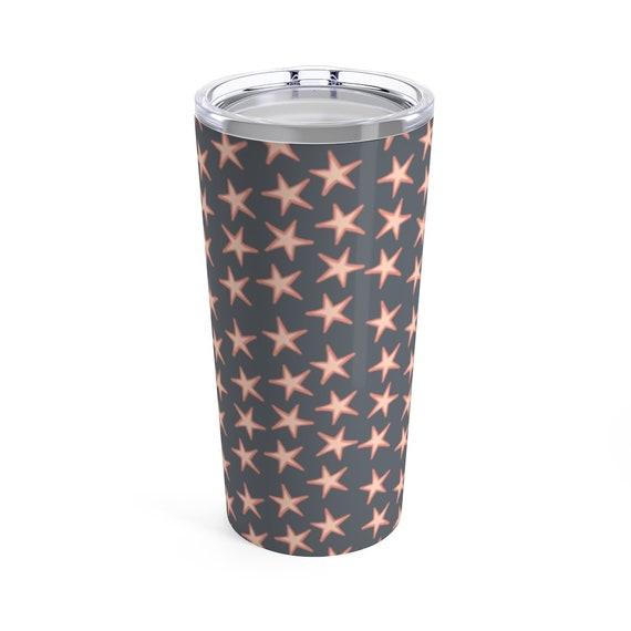 Starlight Travel Mug - Pink Stars - Gray Tumbler - Coffee - Tea - Insulated Mug with Lid - Stainless Tumbler with Lid - Chic Travel Mug