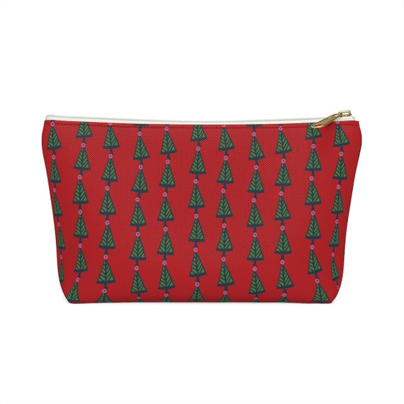 Christmas Tree Pouch - Make up bag - Green and red pencil case - made to order - festive holiday bag - Pine trees - Retro Holiday