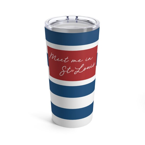Meet Me in St Louis Tumbler - Blue Stripes - St Louis Travel Mug - Blue and Red - Pink Heart - St Louis Gift - St Louis Blues - Cardinal Red