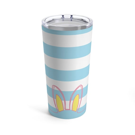 Easter Bunny Ears Tumbler - Pastel Blue Stripes - Pink - Blue - Yellow - Spring - Tumbler with Lid - Spring Coffee Cup - Travel Mug
