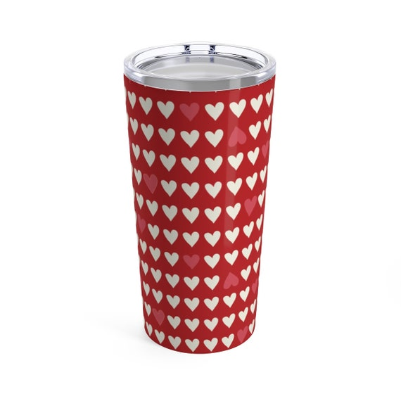 Valentines Day Travel Mug - Red Hearts - White Hearts - Coffee - Tea - Insulated Mug with Lid - Stainless - Love is in the Air - Coffee Mug