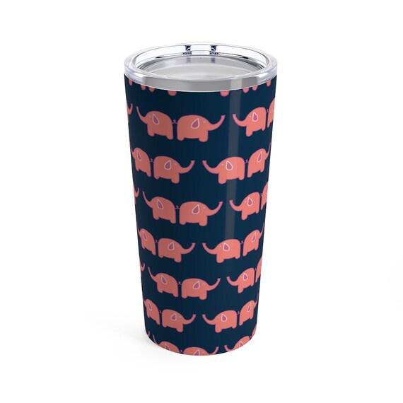 Ellie Travel Mug - Pink Elephant Tumbler - Navy and Pink Stainless Steel Tumbler with Lid - Elephant Lovers - Large Travel Mug - Blue - Pink