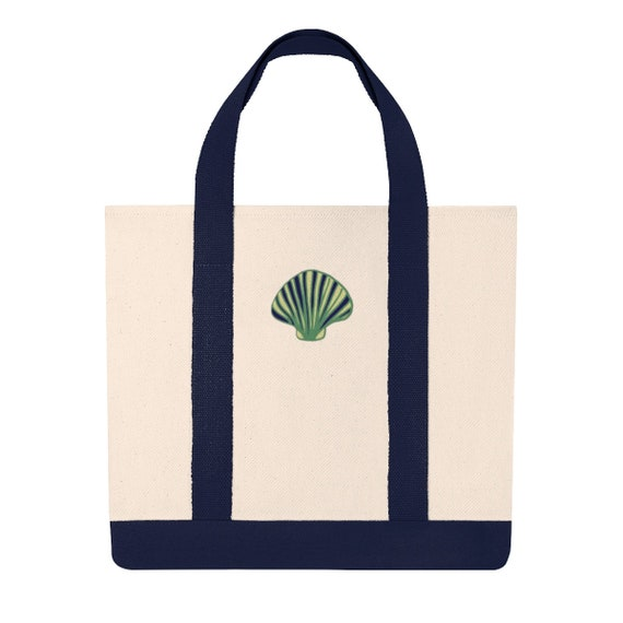 Embroidered Shell Canvas Tote