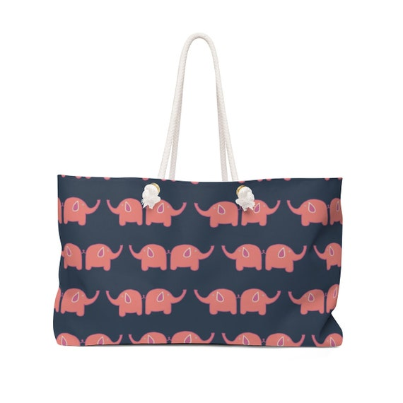 Elephant Tote Bag - Pink Elephant Beach Bag - Rope Handle - Canvas - Preppy Pink Elephants - Navy and Pink Tote - Made to Order - Elephants