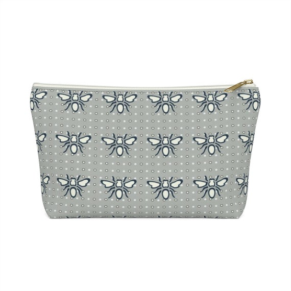 Busy Bee Pouch - Makeup Bag - Gray Bee Fabric - Small Zipper Bag - Bridesmaid Gift - Pencil Case - Polka Dot - Great Gift - Made to Order