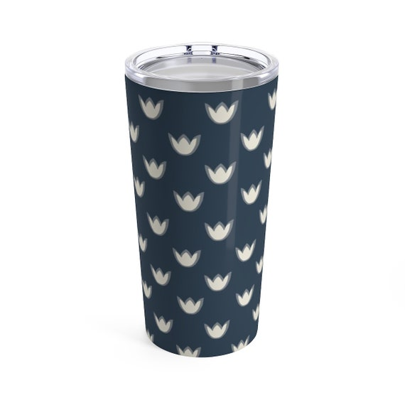 Tulip Travel Mug - Navy Blue Flower Coffee Mug - Mug with Lid - To-Go Mug - Preppy Blue Travel Cup with Lid - White Tulip Mug - Tea Lovers